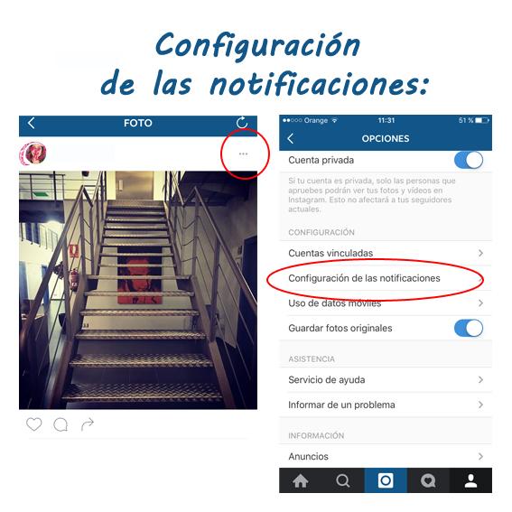 Configurar notificaciones instagram